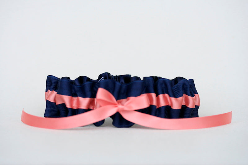 navy-coral-custom-wedding-garter-The-Garter-Girl