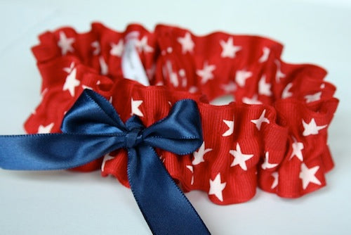 red, white and blue wedding garter