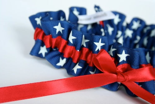 patriotic red, white and blue wedding garter
