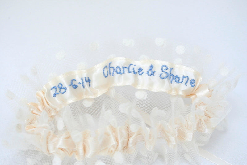 personalized-ivory-blue-wedding-garter-The-Garter-Girl