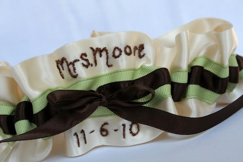 personalized-wedding-garter-ivory-green-brown-The-Garter-Girl-by-Julianne-Smith
