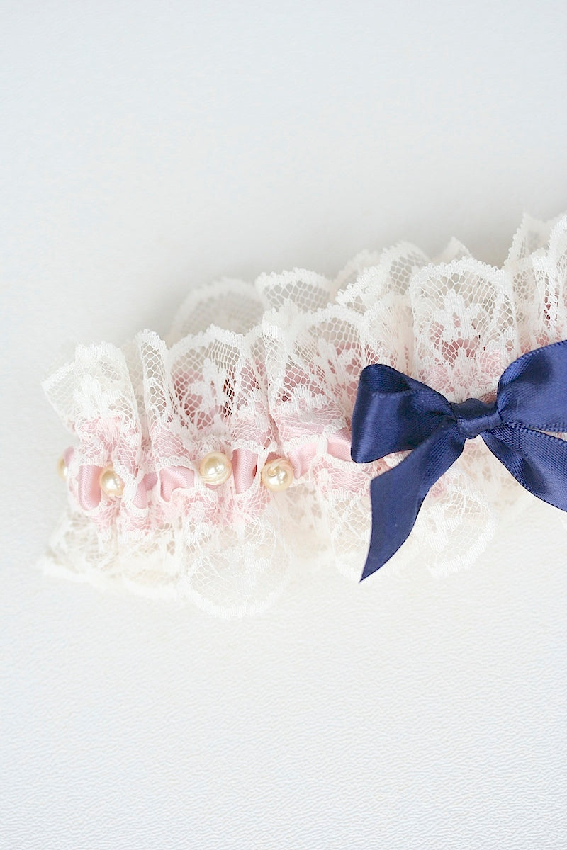 pearls blush and navy custom wedding garter set