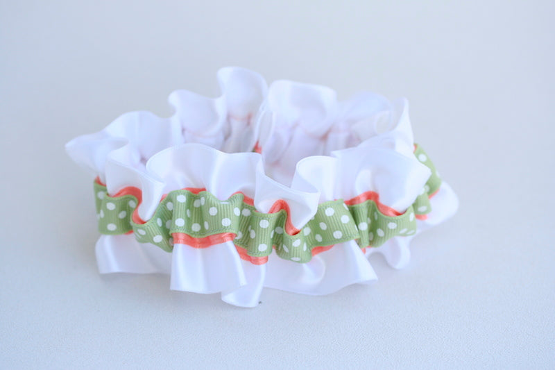 polka-dot-peach-green-wedding-garter-The-Garter-Girl