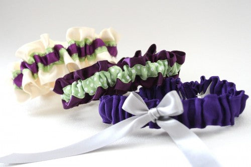 Purple and Green Wedding Garters