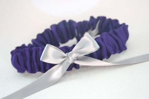 Purple Grosgrain Wedding Garter with Bow Detail