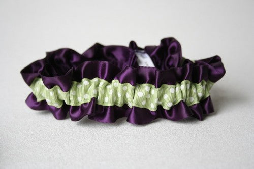 purple-sage-green-polka-dot-wedding-garter-The-Garter-Girl