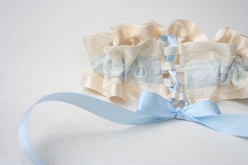 Couture Something Blue Wedding Garter with Satin Lace and Bows