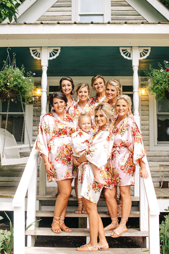 silk flower robes on bridal party