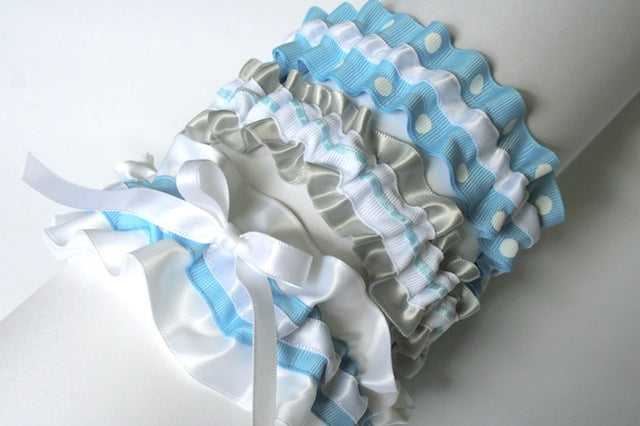 silver, white and blue wedding garters - julianne smith