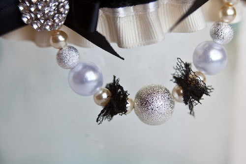 sparkle detail on hand made couture wedding garter
