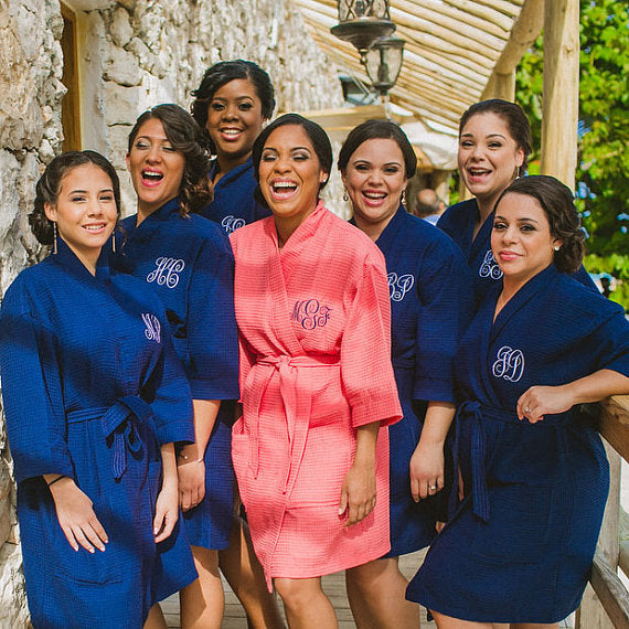 bride and bridesmaids wearing spa robes