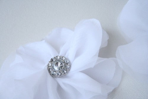 Sparkly White Flower Made To Match Custom Wedding Garter