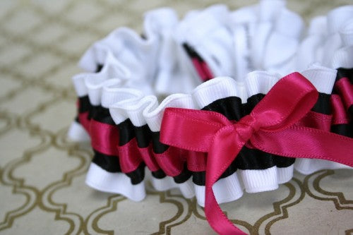 stylish-custom-weddin-garter-white-black-pink-The-Garter-Girl