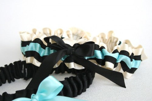 Stylish Aqua and Black Custom Wedding Garter Set