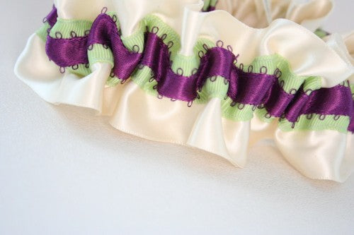 Ivory Green and Purple Wedding Garter