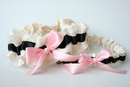 stylish-ivory-lace-black-and-pink-wedding-garter-The-Garter-Girl