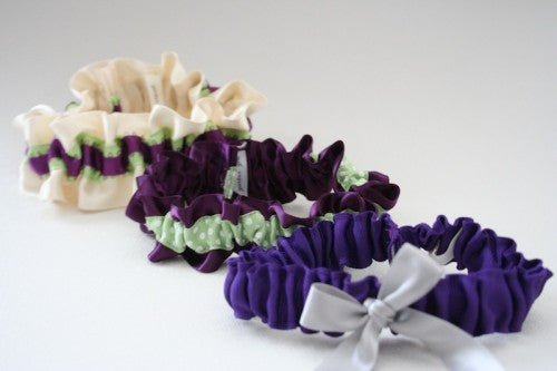 Stylish Purple and Green Wedding Garters