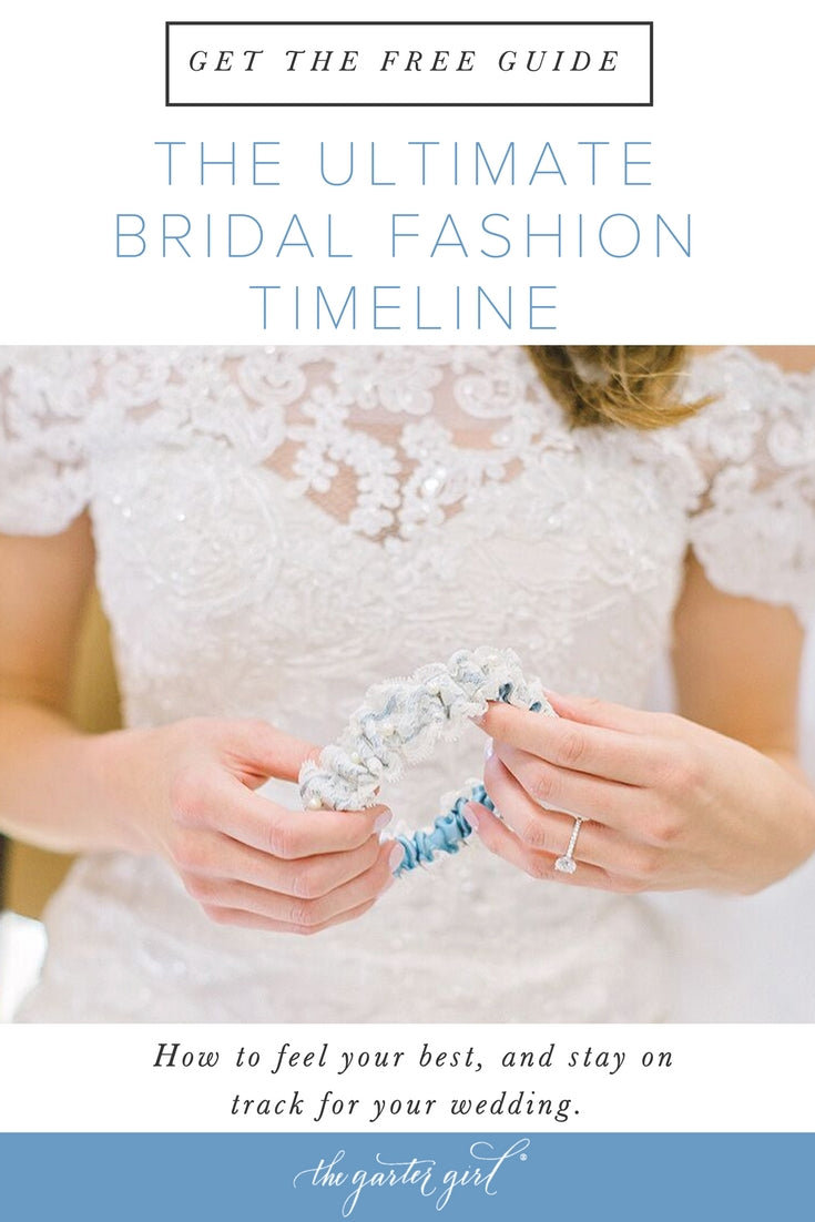 bride holding lace wedding garter made from her mother's wedding dress - featuring a bridal fashion timeline