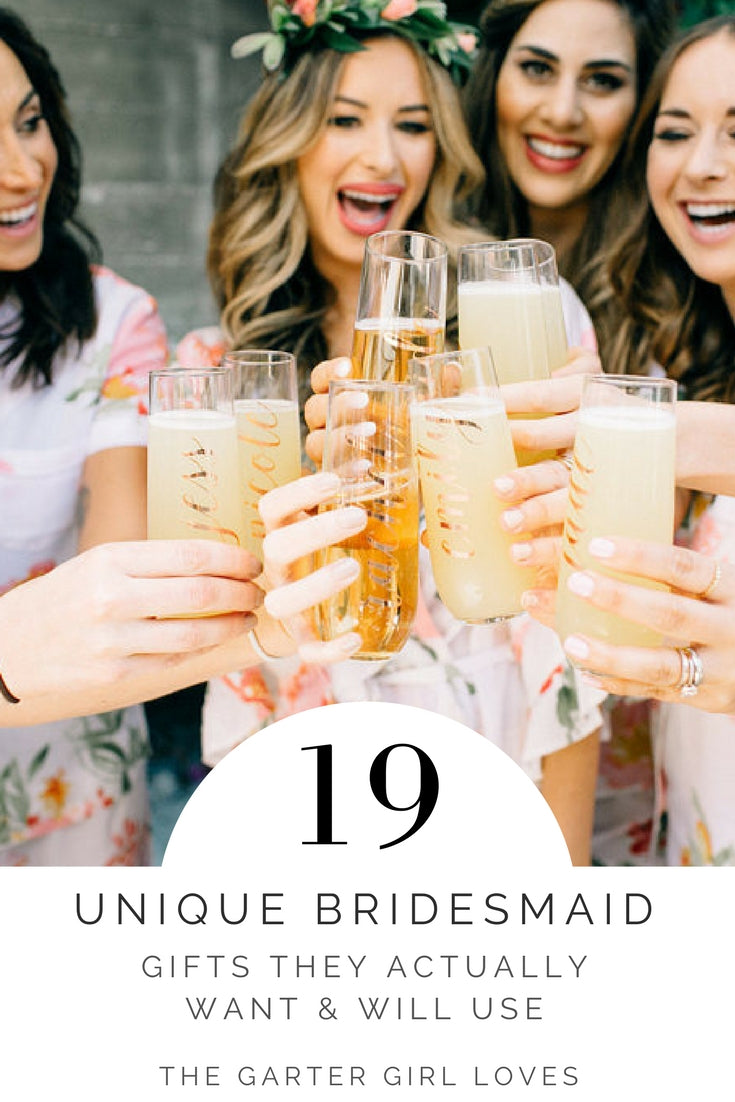 bridesmaid gift ideas - bridesmaids toasting with matching flutes