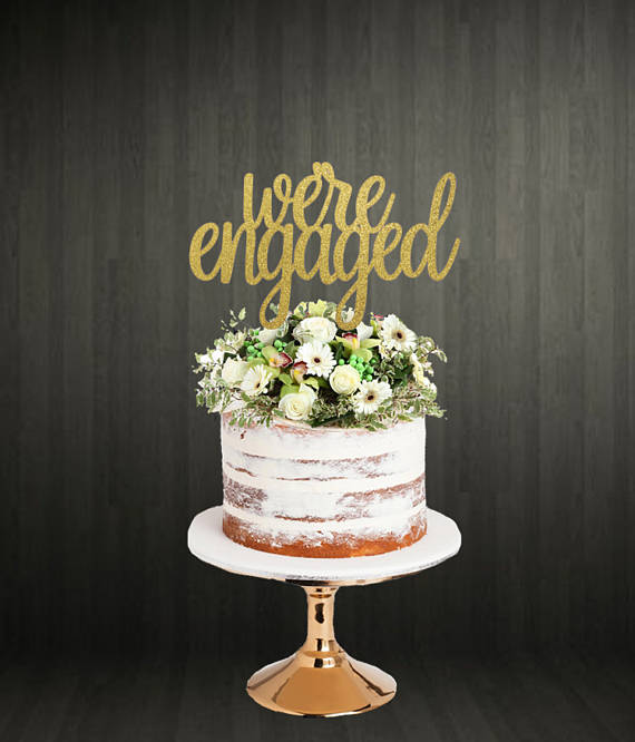 we are engaged gold wedding cake topper
