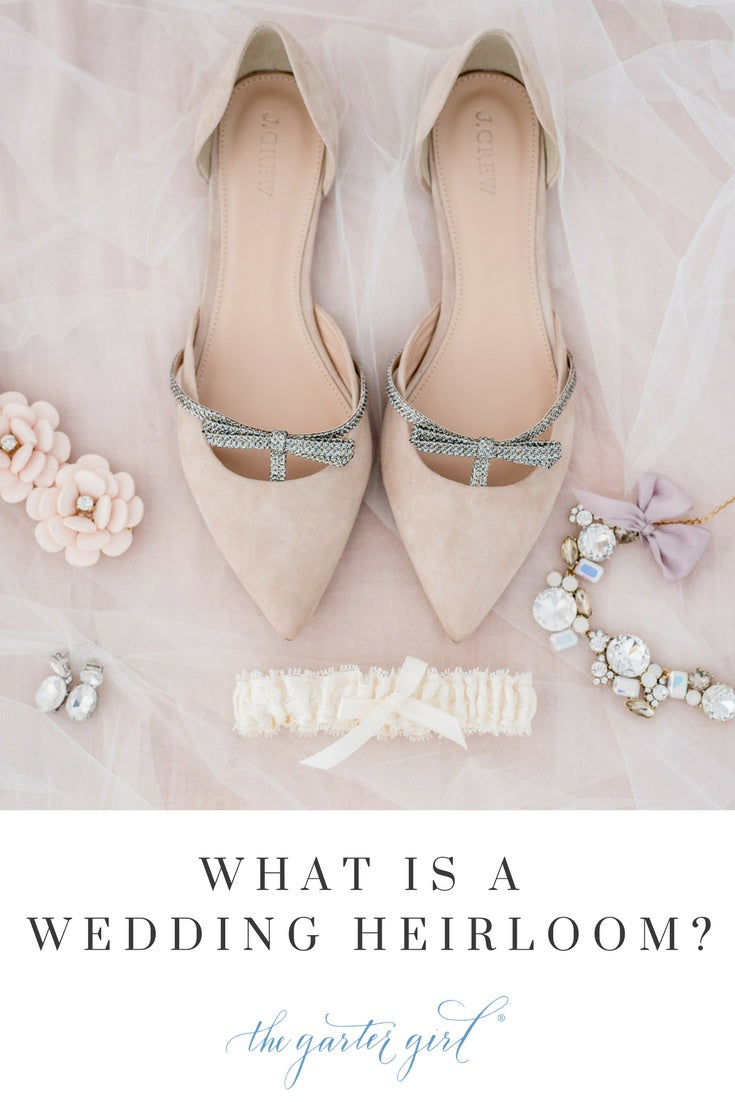 lace wedding garter with blush bridal shoes
