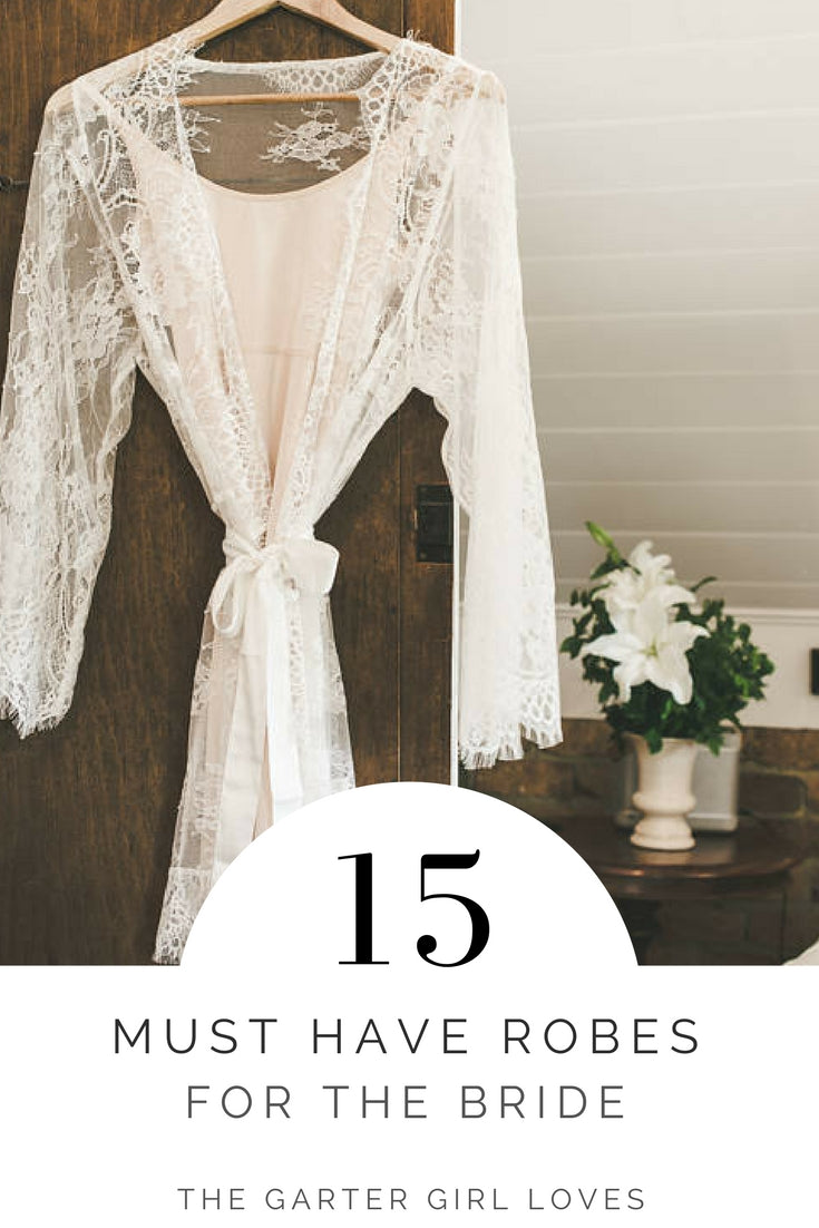 where to find robes for the bride - lace bridal robe hanging