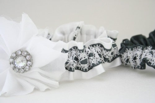 Gray and White Lace Garter Set with Embellished Flowers
