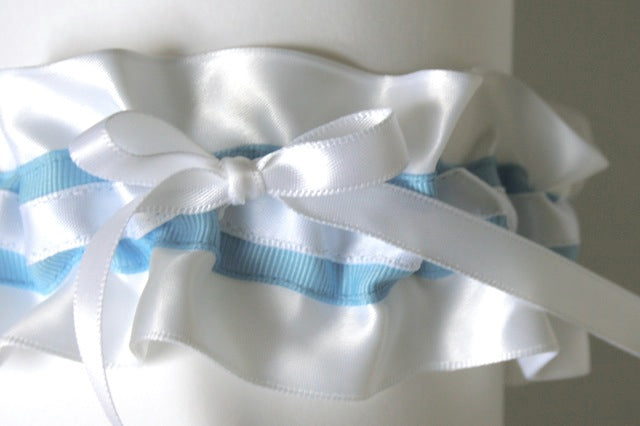 white satinand blue grosgrain wedding garter - julianne smith