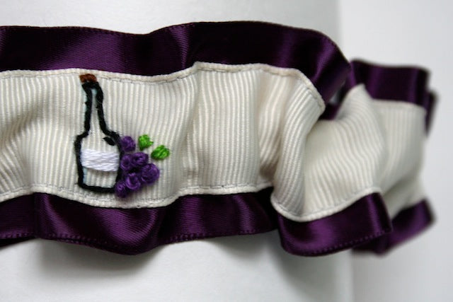 wine themed hand embroidered deep purple and ivory wedding garter by the garter girl by julianne smith 2