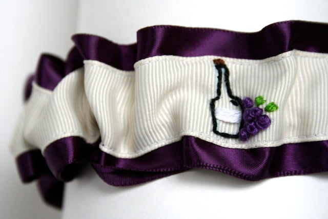 wine themed hand embroidered deep purple and ivory wedding garter by the garter girl by julianne smith