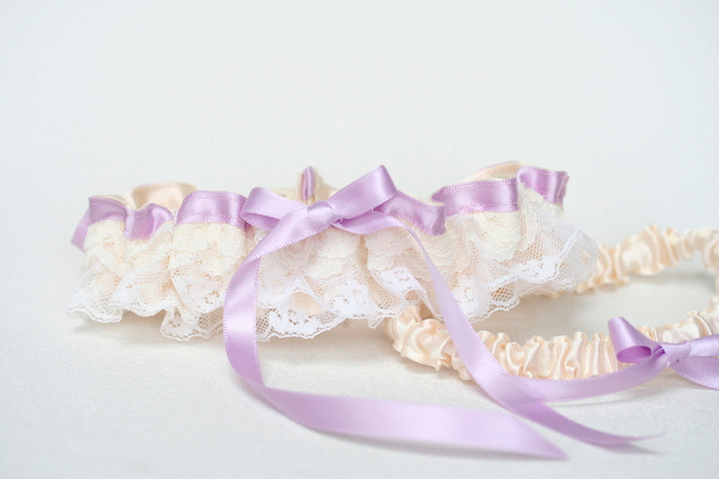 Lace,-Lavender-Embroidered-wedding-Garter-Set-The-Garter-Girl