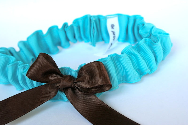 aqua-blue-and-brown-simple-wedding-garter