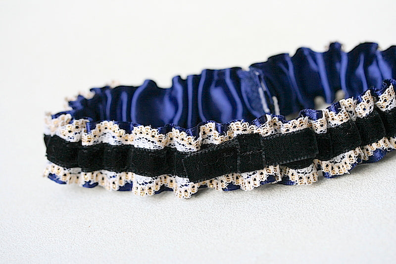 custom black velvet wedding garter with navy blue and gold lace