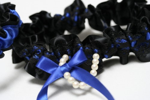 black-lace-royal-blue-bridal-garter-The-Garter-Girl1