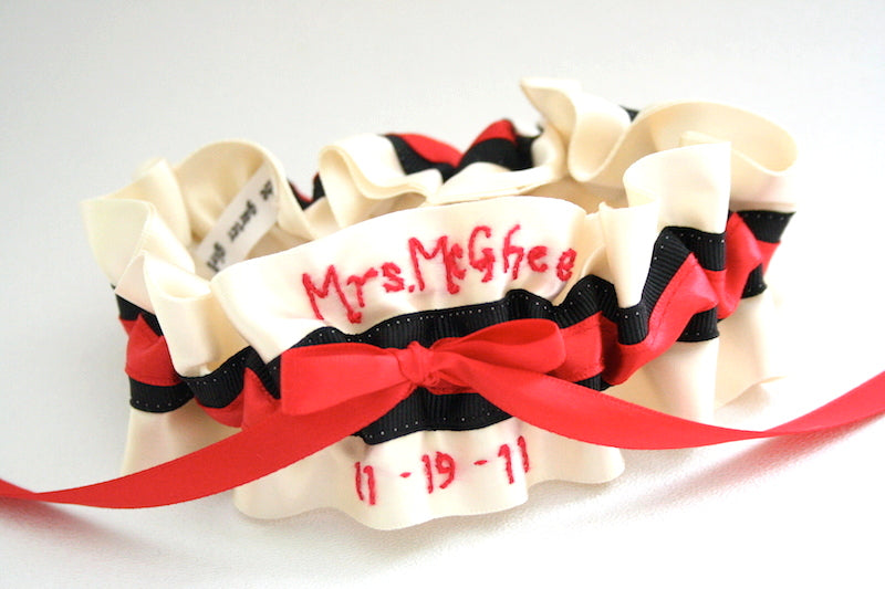 black-red-personalized-custom-wedding-garter-The-Garter-Girl