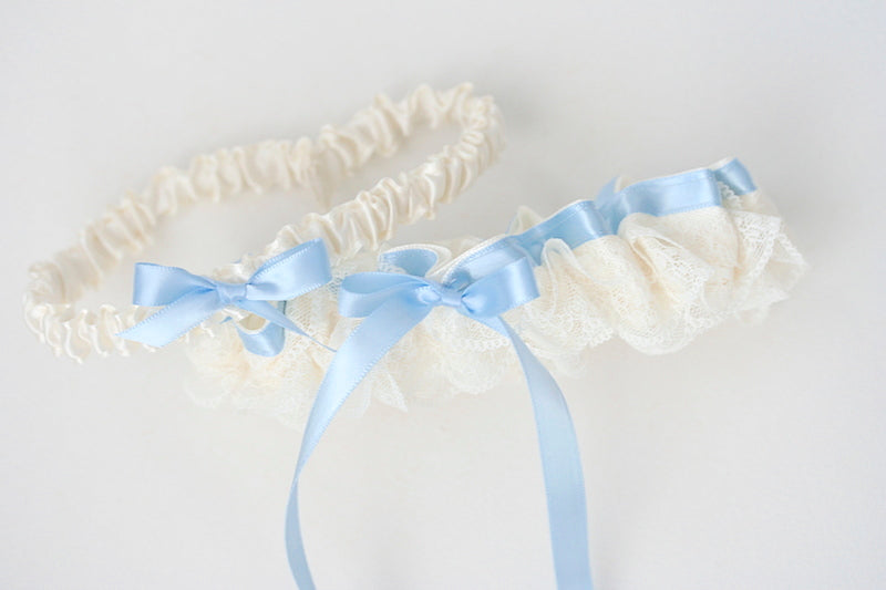 blue and lace wedding garter set