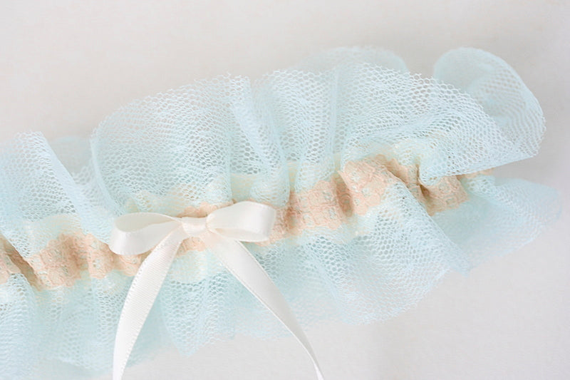 blue tulle wedding garter with lace