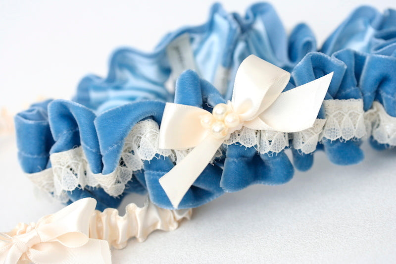 blue-velvet-wedding-garter-set-The-Garter-Girl