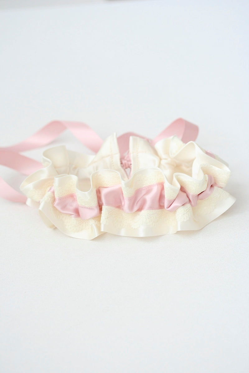 custom blush and lace wedding garter for bride