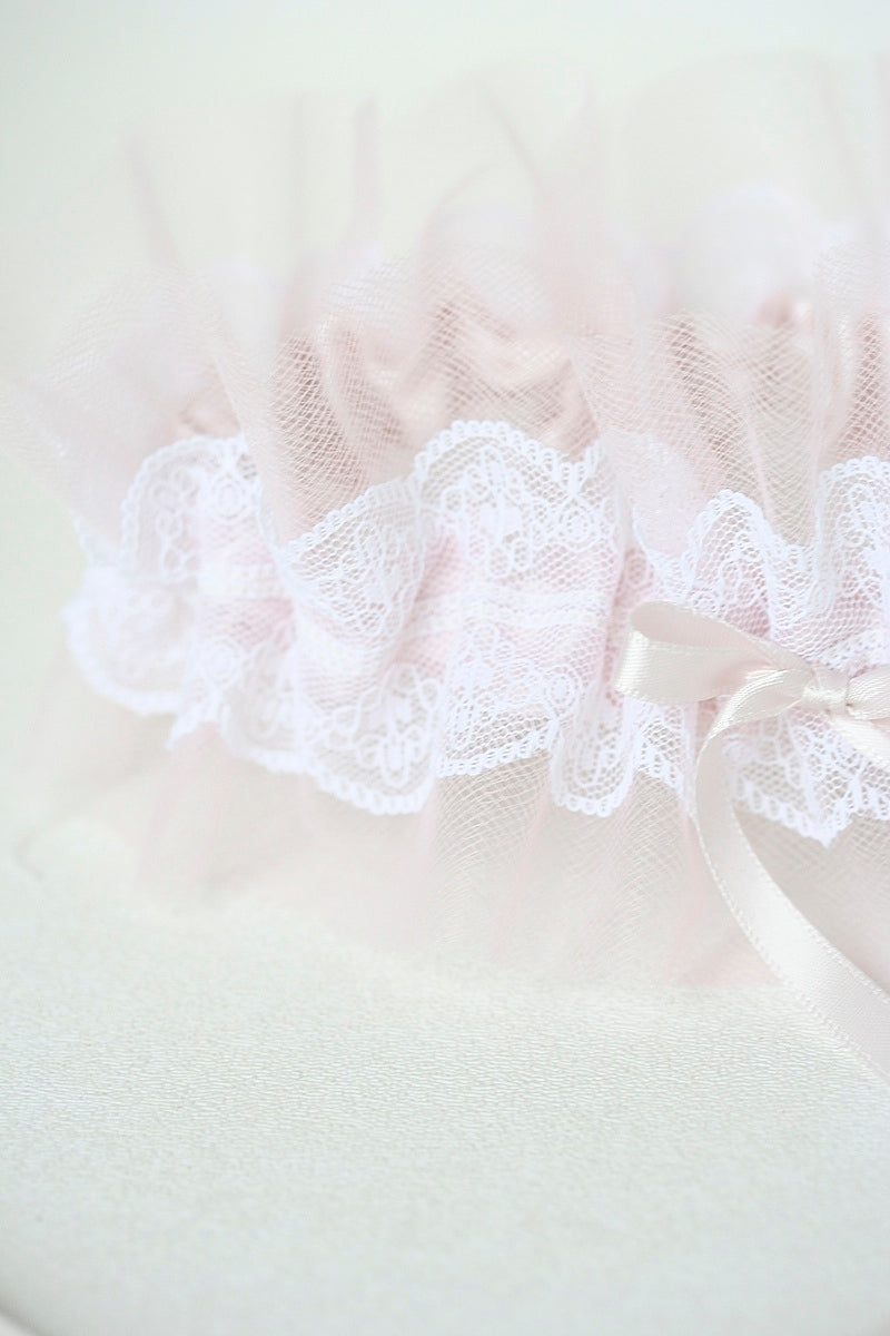 custom wedding garter with blush tulle and ivory lace