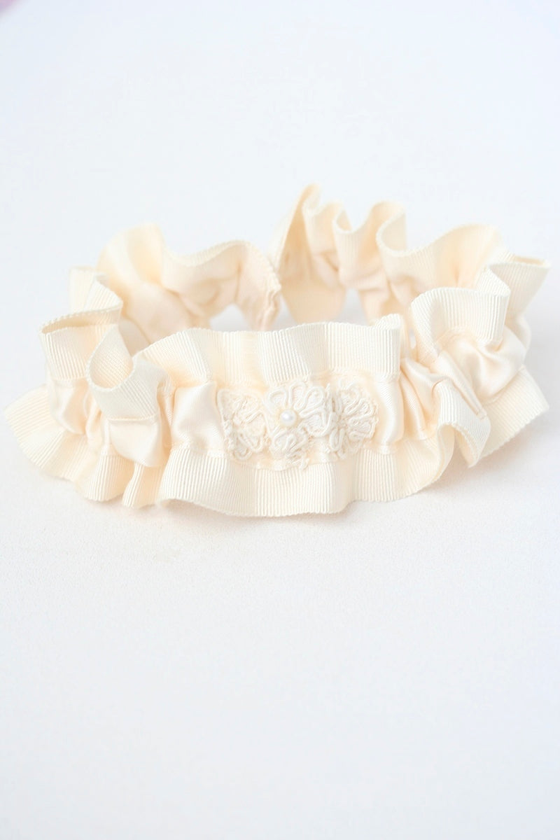 bridal garter lace from vintage wedding dress