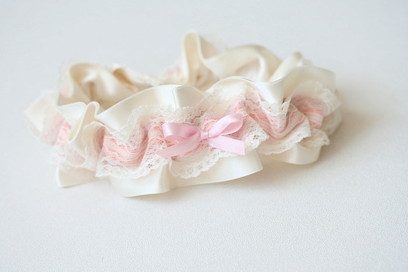 lace and sunset colors wedding garter