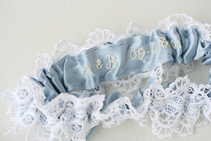 dusty blue and lace personalized wedding garter