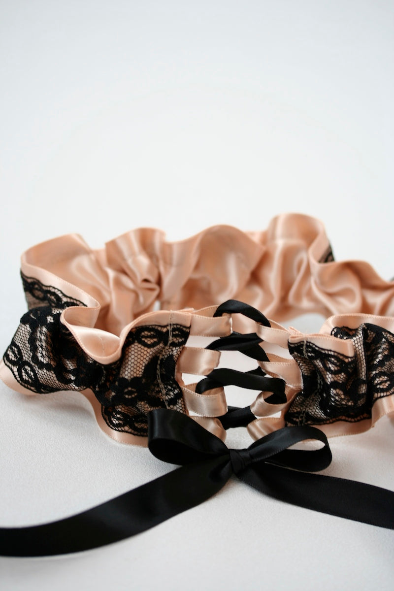 black lace corset tie wedding garter