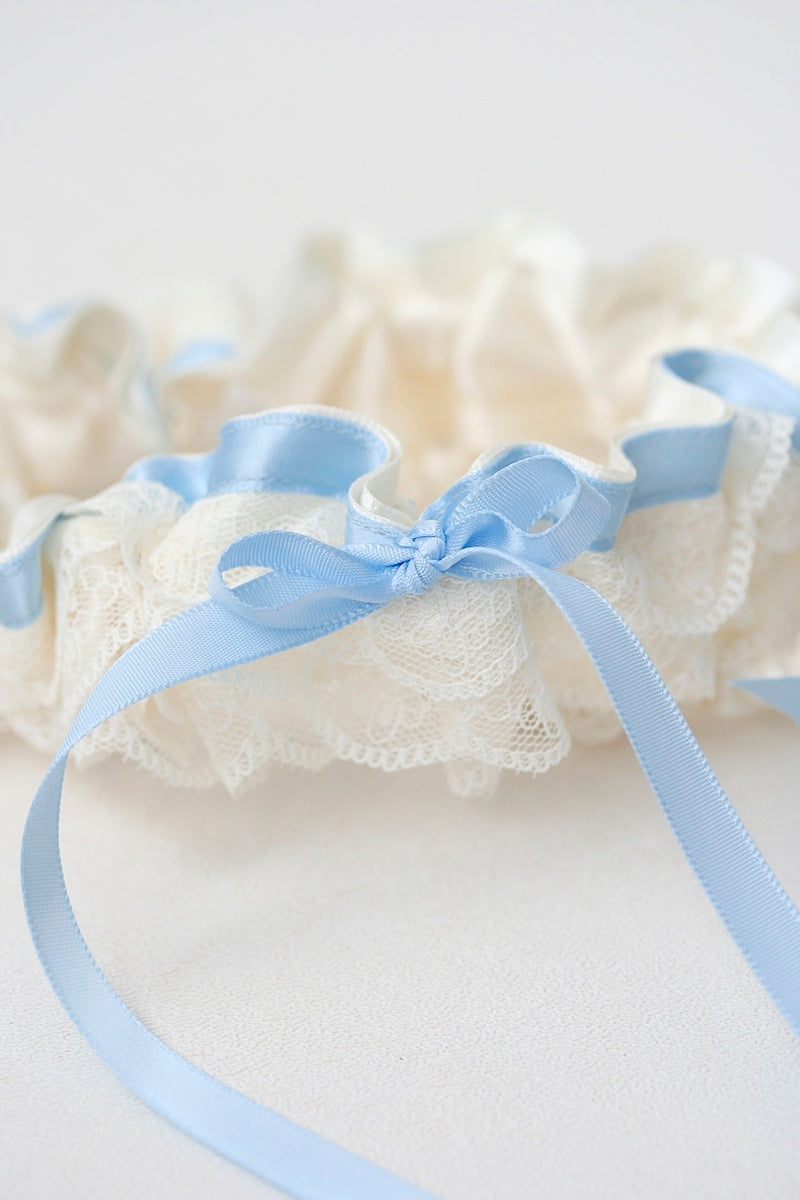 custom garter set with blue