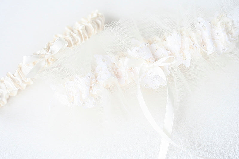 custom  wedding garter made from mothers wedding dress