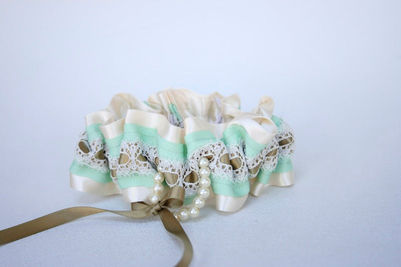 custom-gold-and-mint-wedding-garter