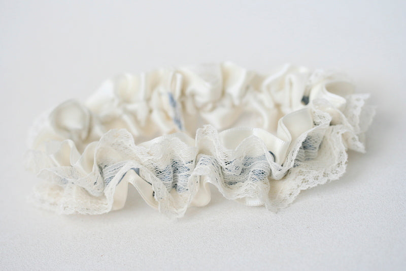 custom wedding garter with ivory lace and dusty blue satin