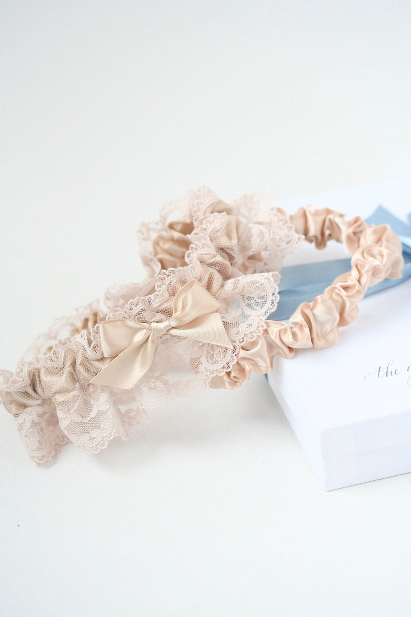champagne lace wedding garter set