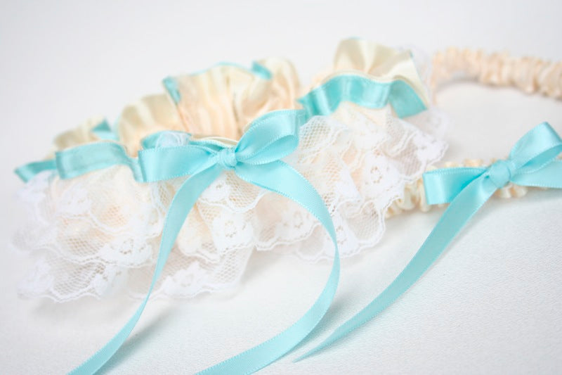 custom-stylish-wedding-garter-ivory-lace-turquoise-The-Garter-Girl-3 9.37.06 PM